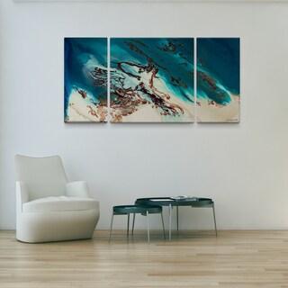 L Dawning Scott 'Coastal Beauty' 30x60 Triptych Canvas Wall Art