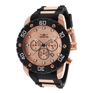 Invicta Men's Pro Diver Black Polyurethane Rose-Tone Dial Chronograph Watch