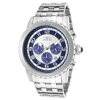 Invicta Men's Specialty Stainless Steel Silvertone and Navy-blue Dial Chronograph Watch