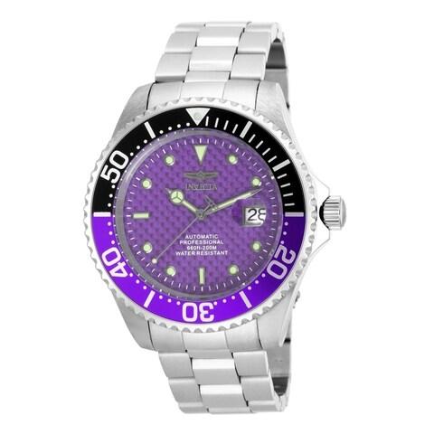 Invicta Men's Pro Diver Automatic Stainless Steel Purple Carbon Fiber Dial Watch