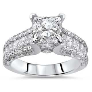 Noori Certified 14k Gold 2 5/8ct TDW Princess-cut Diamond Engagement Ring - White