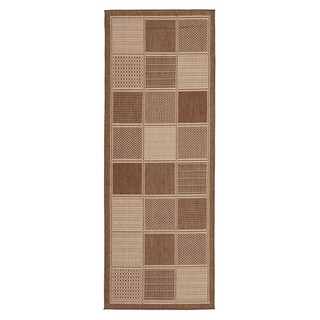 Berrnour Home Collection Boxes Design Indoor / Outdoor Jute Backing Runner Rug (2'7 x7'0)