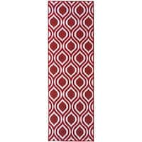 Berrnour Home Rose Collection Moroccan Trellis Design Runner Rug With Non-Skid - 2'3 x 7'