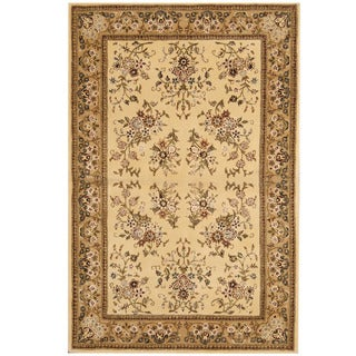 Herat Oriental Indo Hand-tufted Tibetan Ivory/ Light Green Wool & Silk Rug (3'9 x 5'9)