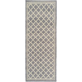 Berrnour Home Summer Collection Jute Backing Bordered Design Indoor/Outdoor Runner Rug (2'7 x 7')