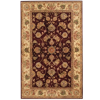 Herat Oriental Indo Hand-tufted Tibetan Red/ Ivory Wool & Silk Rug (3'6 x 5'6)