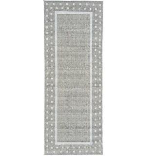 Berrnour Home Summer Collection Bordered Design Indoor/Outdoor Jute Backing Runner Rug (2'7 x 7')