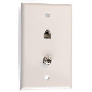 Black Point Products Inc BT-063-WHITE 4 Conductor White Telephone Video Jack Plate