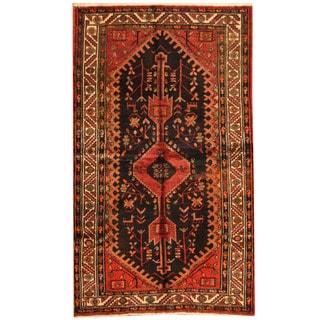 Herat Oriental Persian Hand-knotted Tribal Hamadan Black/ Ivory Wool Rug (4'3 x 7'2)