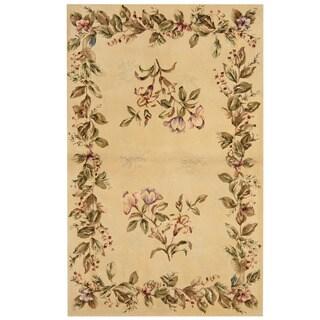 Herat Oriental Indo Hand-tufted Tibetan Ivory/ Green Wool & Silk Rug (3'5 x 5'5)
