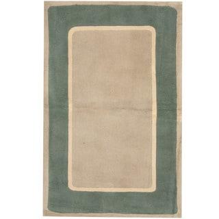 Herat Oriental Indo Hand-tufted Tibetan Gray/ Teal Wool Rug (3'6 x 5'6)
