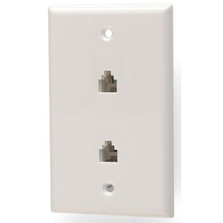 Black Point Products Inc BT-022-WHITE 4 Conductor White Dual Phone Jack Wall Plate