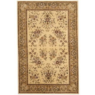 Herat Oriental Indo Hand-tufted Tibetan Ivory/ Light Green Wool and Silk Rug (3'9 x 5'9)