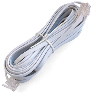 Black Point Products 15-Foot White Wire Telephone Cord