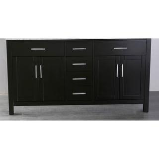Bosconi 59-inch Black Wood and Metal Vanity cabinet