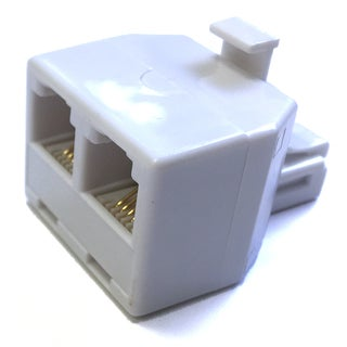 Black Point Products Inc BT-011-WHITE 4 Conductor 2 Jacks 1 Plug White Tee Phone Adapter