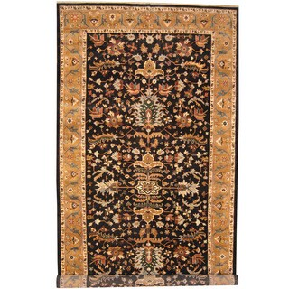 Herat Oriental Indo Hand-knotted Heriz Black/ Gold Wool Runner (8'9 x 17'6)