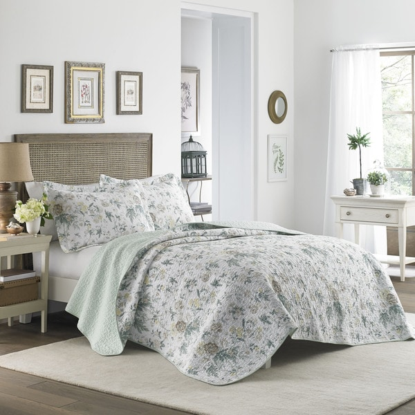 Shop Laura Ashley Breezy Floral Cotton Reversible Quilt ...