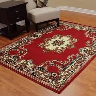 TajMahal Red Polypropylene Oriental Area Rug (5'x7')