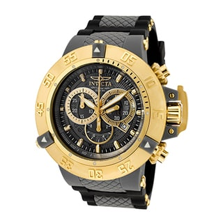 Invicta Men's Subaqua Grey Dial 18-karat Gold-plated Stainless Steel Case Black Silicone Chronograph Watch