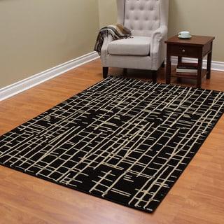 DonnieAnn Mystiq 473 Black and Beige Crosshatch Pattern Area Rug (5'x7')
