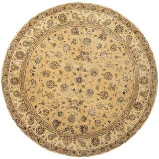 Herat Oriental Tabriz Hand-tufted Gold/ Ivory Wool & Silk 8 Foot Round Rug (India)