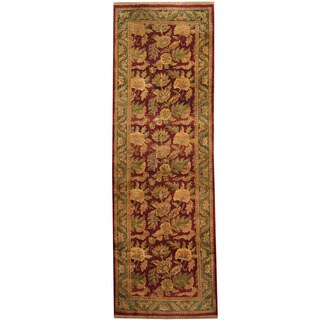Herat Oriental Indo Hand-knotted Khorasan Red/ Green Wool Runner (3'10 x 11'10)