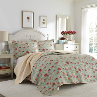 Laura Ashley Edwina Floral Cotton Reversible Quilt Set