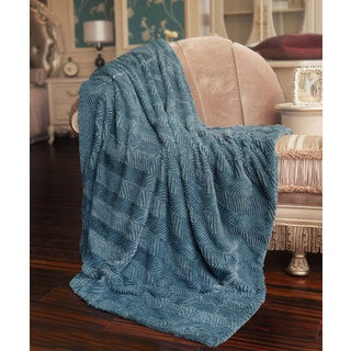 Boon Herringbone Faux Fur Sherpa Backing Brushed Throw