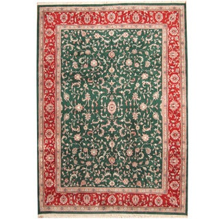Herat Oriental Indo Hand-knotted Kashan Green/ Red Wool Rug (10' x 14')