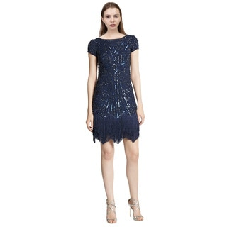 Aidan Mattox Embellished Fringe Shift Cocktail Evening Dress