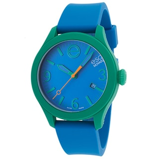 ESQ Movado ESQ One Blue Silicone Dial Green Case Watch