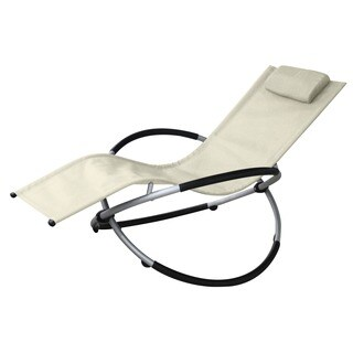 Vanilla Orbit Beige Outdoor Rocking Lounge Chair
