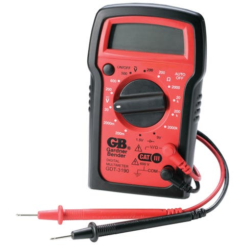GB Digital Digital Multimeter 500 VAC, 600 VDC 2 meg Ohm, Red/Black