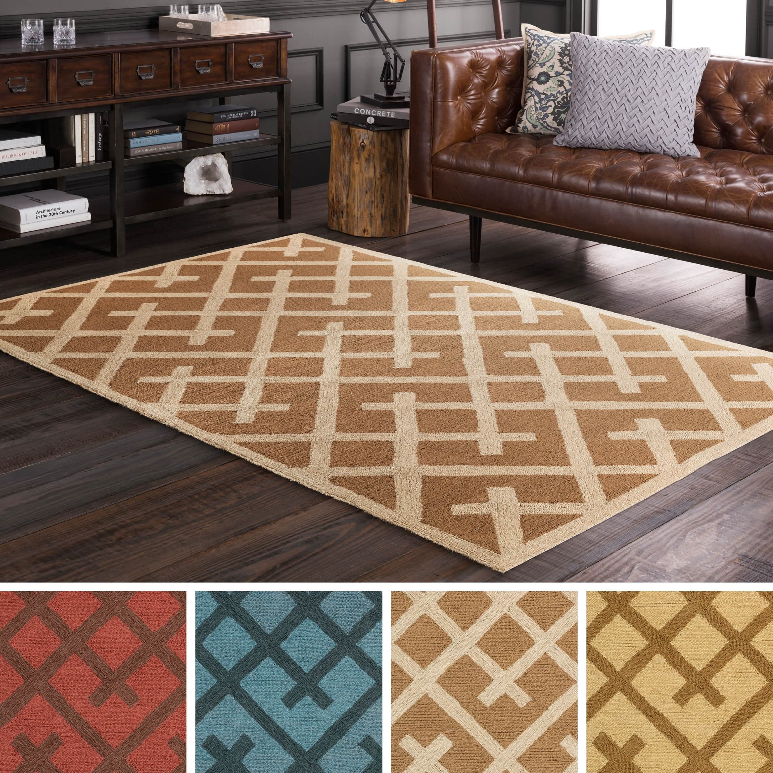 Ferrecci Hand Tufted idiom Jute Rug (5' x 7'6) (Brown/Red...