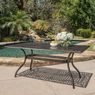 Hallandale Outdoor Aluminum Rectangle Bronze Dining Table by Christopher Knight Home|https://ak1.ostkcdn.com/images/products/11766425/P18679995.jpg?impolicy=medium