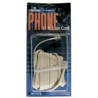 Leviton 832-C2413-15W 15' White Phone Line Cord