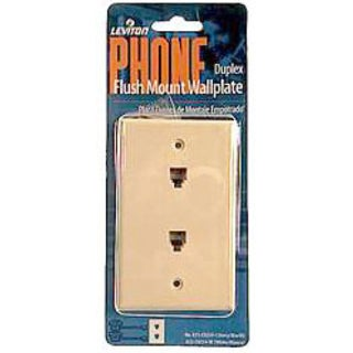 Leviton 832-C0254-W Single Gang White Flush Mount Duplex Phone Wallplate