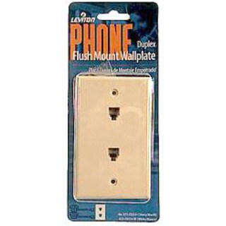 Leviton 831-C0254-I Single Gang Ivory Flush Mount Duplex Phone Wallplate