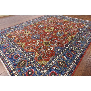 Hand-Knotted Tribal Serapi Red Wool Rug (9'1 x 11'5)