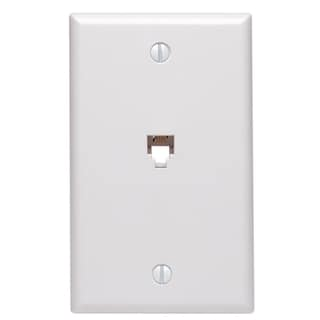 "Leviton 012-40249-00W 4.2"" 6P4C White Standard Telephone Wall Jack"