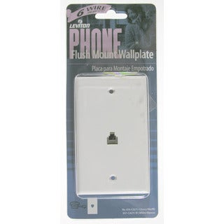 Leviton 002-40238-00W Single Gang White Flush Mount Phone Wallplate