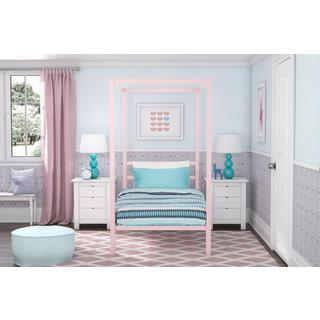 DHP Modern Pink Metal Twin Canopy Bed