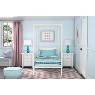 Taylor & Olive Houghton Modern White Metal Twin Canopy Bed