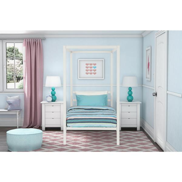 DHP Modern White Metal Twin Canopy Bed