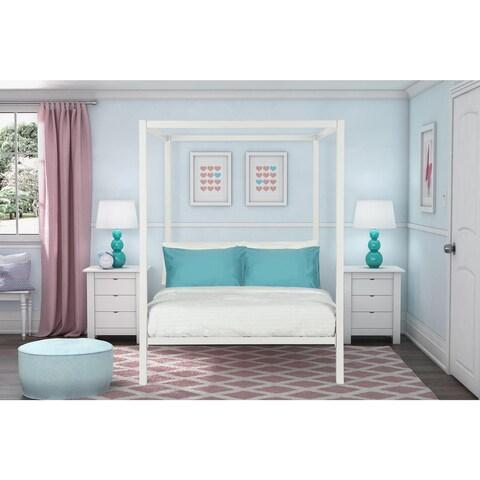 Havenside Home La Porte Modern White Metal Full Canopy Bed