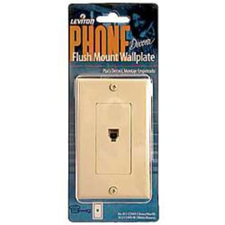 Leviton 001-40149-00W White Single Gang Flush Mount Phone Wallplate