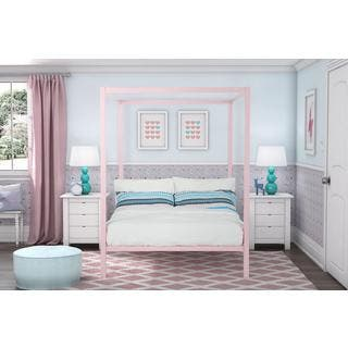 DHP Modern Pink Metal Full Canopy Bed. Poster Bed Kids    Toddler Beds For Less   Overstock com