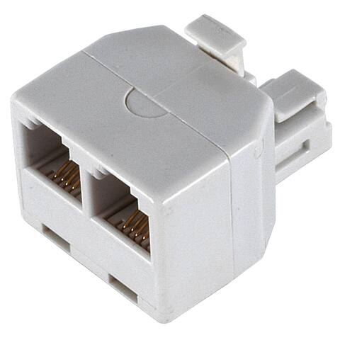 GE Jasco 76191 White Duplex Wall Jack Adapter