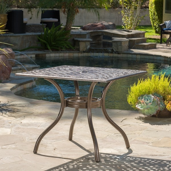 shop hallandale outdoor cast aluminum square bronze dining table rh overstock com